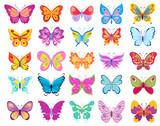 Fototapety set of cartoon butterflies. vector