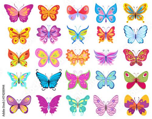 set of cartoon butterflies. vector