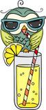 Owl with sunglasses drinking fresh lemonade