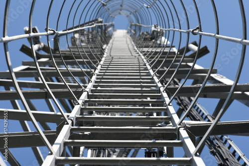Fixed ladder for climbing on telecommunication tower