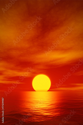 Foto op Canvas Rood traf. big beautiful red sunset over the ocean