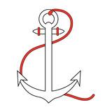 anchor nautical icon image vector illustration design  orange and white