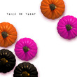Stylish Frame background with black, natural and fashion purple Halloween pumpkin with trick or treat text. Isolated on white background. Flat lay, top view. Vector Illustration