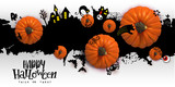 Happy Halloween Paper art banner with cartoon silhouettes on blot background with realistic Pumpkins. Vector illustration. Paper cut holiday design with hand lettering greetings. Retro style banner - 174297112
