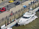 NEWCASTLE UPON TYNE, ENGLAND, UK - MAY 17, 2017: Luxury yachts  on the river Tyne at Newcastle & Gateshead Quayside. - 174297351