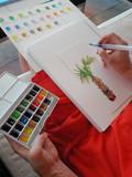 palette couleur main pinceau création art aquarelle - 174297749
