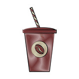 coffee beverage in disposable cup icon image vector illustration design
