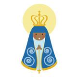 Our Lady of Aparecida is Nossa Senhora Aparecida patroness of Brazil. Blessed Virgin Mary flat cute vector. - 174299982