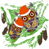 Two violet owls in red hats sitting on green fir branches in white snow with cones stock vector illustration - 174311940