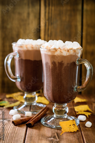 Foto op Canvas Chocolade Hot chocolate with marshmallow in glass cups on wooden background