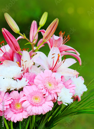 Aluminium Gerbera Colorful lily flowers bouquet isolated.