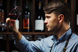Bokal of red wine on background, male sommelier appreciating drink - 174314385