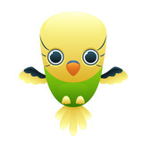 Budgerigar cute cartoon character isolated on white background. Vector illustration
