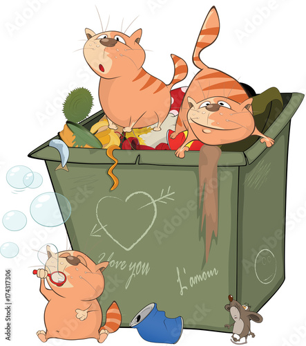 Foto op Plexiglas Babykamer Illustration of a Cats and Waste Container