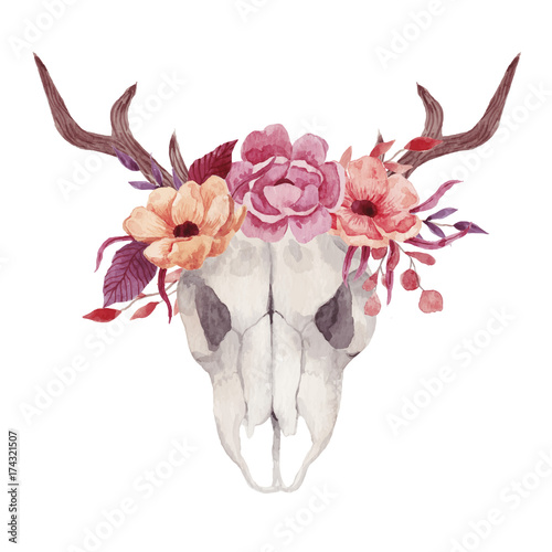 Watercolor skulls with flowers - 174321507