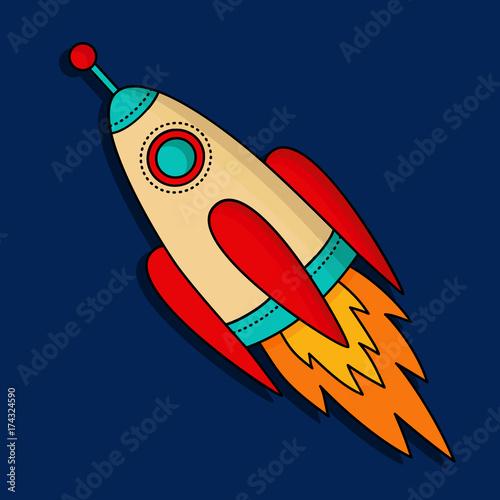Space ship rocket vector icon