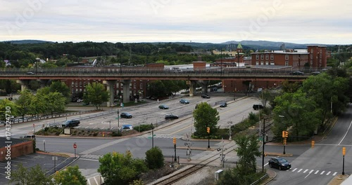 View of Manchester, New Hampshire traffic 4K