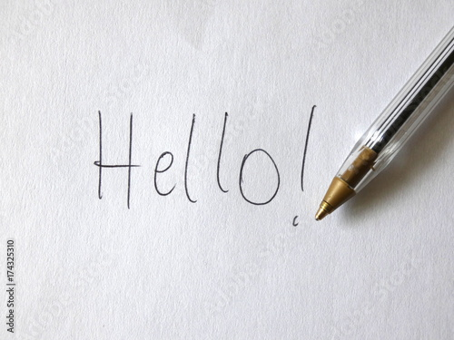 Hello Pen Handwritten On Paper