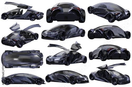 Samochodowy pojęcie auto ciemny purpurowy nowożytny transportu set. Renderowania 3D