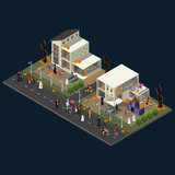 Isometric Halloween Holiday Celebration Concept