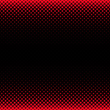Halftone dot pattern background design - vector squared stationery illustration from red circles in varying sizes on black background
