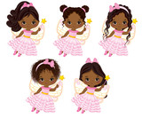 Cute Little African American Fairies  Various Hairstyles Wall Sticker