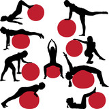 pilates women collection silhouettes - vector