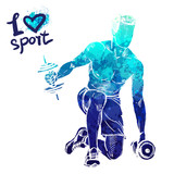 Bright watercolor silhouette of a man is training with dumbbells. Vector sport illustration. Graphic figure of the athlete. Active people. Recreation lifestyle. I love sport. - 174360122