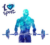 Bright watercolor silhouette of a man with a barbell. Vector sport illustration. Graphic figure of the athlete. Active people. Recreation lifestyle. I love sport. - 174360184
