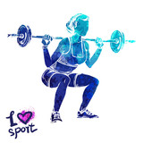 Bright watercolor silhouette of a women with a barbell. Vector sport illustration. Graphic figure of the athlete. Active people. Recreation lifestyle. I love sport. - 174360352