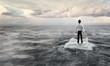 Quadro Surfing sea on ice floe. Mixed media