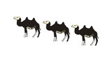 Camel caravan hand drawn icon isolated on white background vector illustration. Eastern ethnic culture element, traditional symbol. - 174404776
