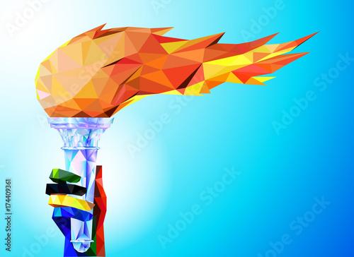 antorcha-llama-una-mano-de-las-cintas-olimpicas-sostiene-la-copa-con-una-antorcha-sobre-un-fondo-azul-en-un-triangulo-geometrico-de-estilo-xxiii-juegos-de-invierno