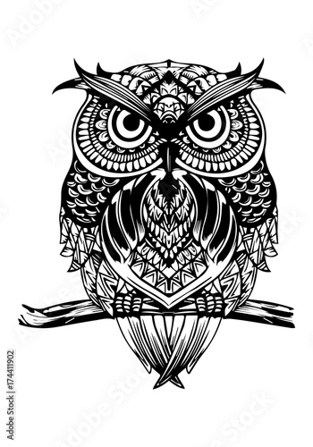 Fotobehang Uilen cartoon Owl illustration to paint. Draw for relaxing