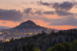 Lycabettus hill and view of the city of Athens, Greece.   - 174416192