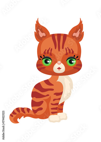 Vector image of a cute purebred kitten in cartoon style. Children's illustration.