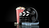 Film reel with popcorn isolated - 174426976