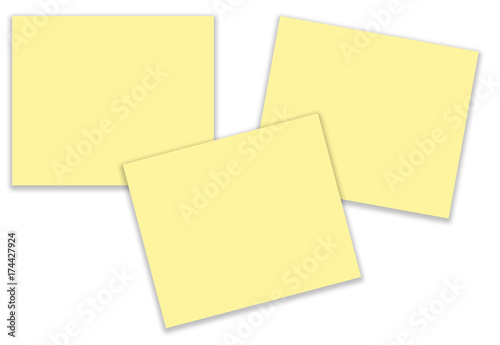 Blank yellow stickers isolated in white background