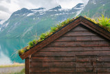 Traditional scandinavian old wooden houses - 174429130