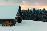 Fantastic landscape with snowy house - 174429313