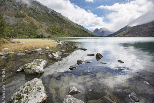 Poster Grijs Medial Multinskiye lake, Altai mountains landscape