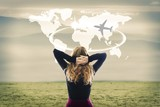 concept of travel, woman with map world and plane - 174431334
