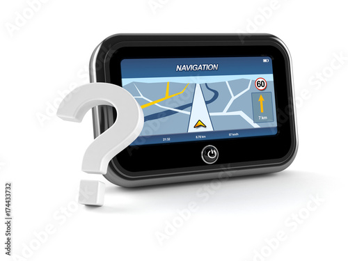 GPS navigation with question mark