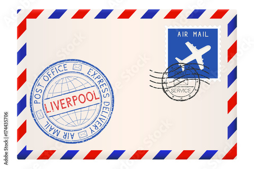 Envelope with Liverpool stamp. International mail postage with postmark and stamps