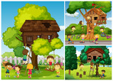 Childern playing in the treehouse - 174436937