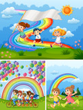 Happy people in park with rainbow in background - 174437185