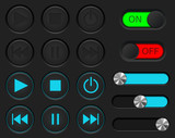 Media player buttons set. Normal and active pushed. With sliders and ON and OFF buttons - 174437322