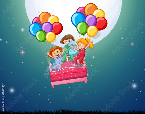 Deurstickers Groen blauw Three girls in bed flying with balloons