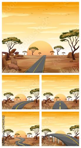 Fotobehang Kids Five scenes with roads in savanna field