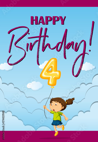 Fotobehang Kids Birthday card template with girl and number four